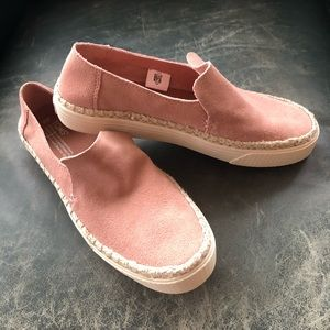 NEW TOM'S PINK SUNSET SUEDE SLIP ON SNEAKERS SZ 9